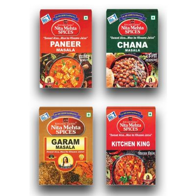 Special Combo For Daily Need Paneer Masala 100g | Chana Masala 100g | Garam Masala 100g | Kitchen King Masala 100g (400g, Pack 4)